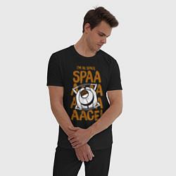Пижама хлопковая мужская Space цвета черный — фото 2