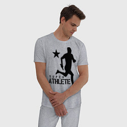 Пижама хлопковая мужская Лёгкая атлетика цвета меланж — фото 2