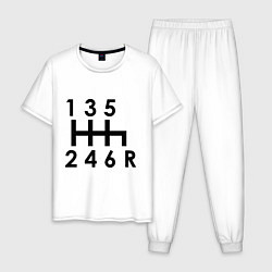 Пижама хлопковая мужская Коробка передач цвета белый — фото 1
