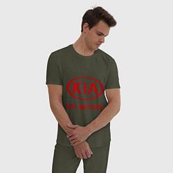 Пижама хлопковая мужская KIA цвета меланж-хаки — фото 2