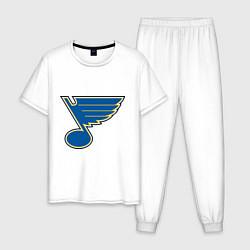 Пижама хлопковая мужская St Louis Blues цвета белый — фото 1