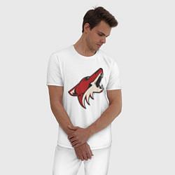 Пижама хлопковая мужская Phoenix Coyotes цвета белый — фото 2