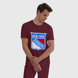 Пижама хлопковая мужская New York Rangers цвета меланж-бордовый — фото 2