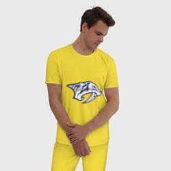 Пижама хлопковая мужская Nashville Predators цвета желтый — фото 2