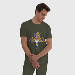 Пижама хлопковая мужская Florida Panthers цвета меланж-хаки — фото 2