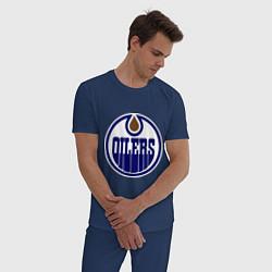 Пижама хлопковая мужская Edmonton Oilers цвета тёмно-синий — фото 2