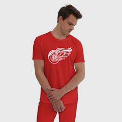 Пижама хлопковая мужская Detroit Red Wings цвета красный — фото 2