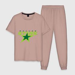 Пижама хлопковая мужская Dallas Stars цвета пыльно-розовый — фото 1
