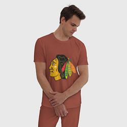 Пижама хлопковая мужская Chicago Blackhawks цвета кирпичный — фото 2