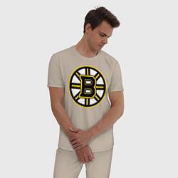 Пижама хлопковая мужская Boston Bruins цвета миндальный — фото 2