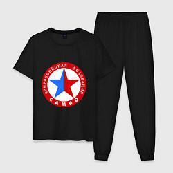 Пижама хлопковая мужская Федерация САМБО цвета черный — фото 1