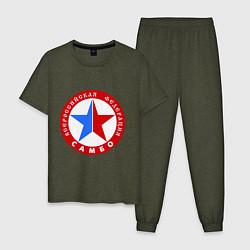Пижама хлопковая мужская Федерация САМБО цвета меланж-хаки — фото 1