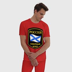 Пижама хлопковая мужская Северный флот цвета красный — фото 2