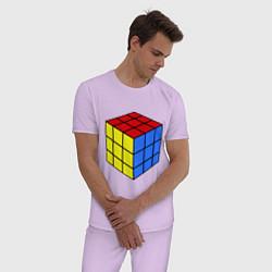 Пижама хлопковая мужская Рубик цвета лаванда — фото 2