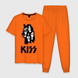 Пижама хлопковая мужская Kiss Faces цвета оранжевый — фото 1