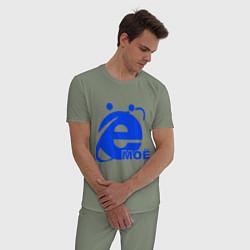 Пижама хлопковая мужская Ёмоё цвета авокадо — фото 2