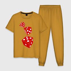 Пижама хлопковая мужская Игральные кости цвета горчичный — фото 1