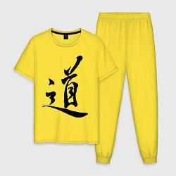 Пижама хлопковая мужская Иероглиф Дао цвета желтый — фото 1