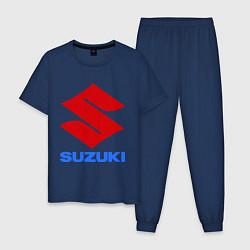 Пижама хлопковая мужская Suzuki цвета тёмно-синий — фото 1