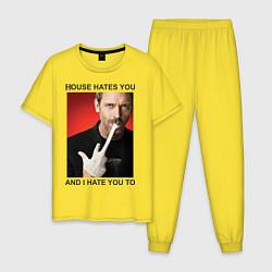 Пижама хлопковая мужская House Hates You цвета желтый — фото 1