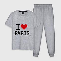 Пижама хлопковая мужская I love Paris цвета меланж — фото 1