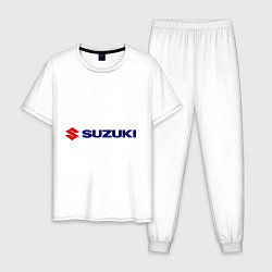 Пижама хлопковая мужская Suzuki цвета белый — фото 1
