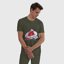 Пижама хлопковая мужская Colorado Avelanche: Sakic цвета меланж-хаки — фото 2