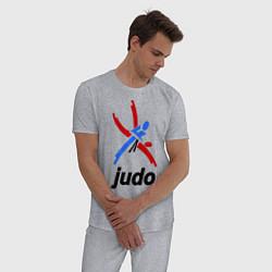 Пижама хлопковая мужская Judo Emblem цвета меланж — фото 2