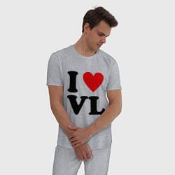 Пижама хлопковая мужская I love VL цвета меланж — фото 2