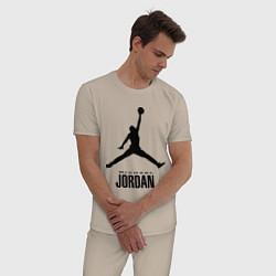 Пижама хлопковая мужская Jordan Style цвета миндальный — фото 2