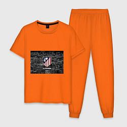 Пижама хлопковая мужская Атлетико Мадрид цвета оранжевый — фото 1