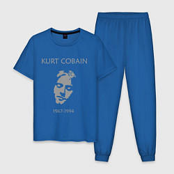 Пижама хлопковая мужская Kurt Cobain: 1967-1994 цвета синий — фото 1