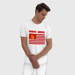 Пижама хлопковая мужская Goodbye America цвета белый — фото 2