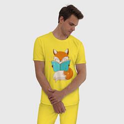 Пижама хлопковая мужская Лисица с книгой цвета желтый — фото 2