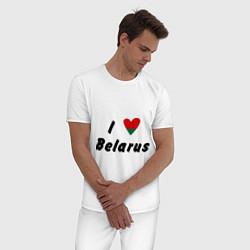 Пижама хлопковая мужская I love Belarus цвета белый — фото 2