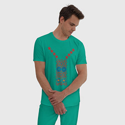 Пижама хлопковая мужская Узор славянского сарафана цвета зеленый — фото 2