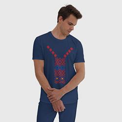 Пижама хлопковая мужская Узор славянского сарафана цвета тёмно-синий — фото 2