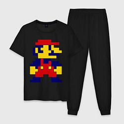Пижама хлопковая мужская Pixel Mario цвета черный — фото 1