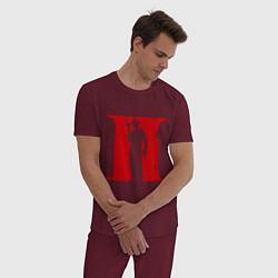 Пижама хлопковая мужская Мафия цвета меланж-бордовый — фото 2