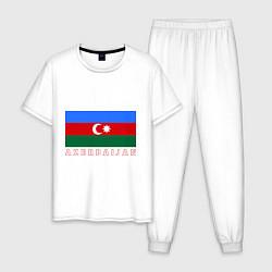 Пижама хлопковая мужская Азербайджан цвета белый — фото 1