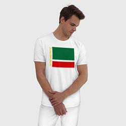 Пижама хлопковая мужская Чечня: флаг цвета белый — фото 2