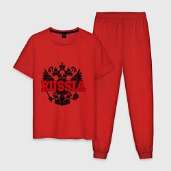 Пижама хлопковая мужская Russia Coat цвета красный — фото 1