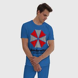 Пижама хлопковая мужская Umbrella corporation цвета синий — фото 2