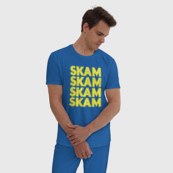 Пижама хлопковая мужская Skam Skam цвета синий — фото 2