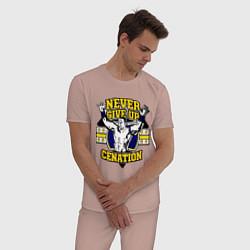 Пижама хлопковая мужская Never Give Up: Cenation цвета пыльно-розовый — фото 2