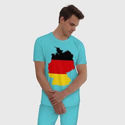 Пижама хлопковая мужская Германия (Germany) цвета бирюзовый — фото 2