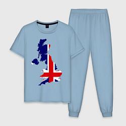 Пижама хлопковая мужская Великобритания (Great Britain) цвета мягкое небо — фото 1