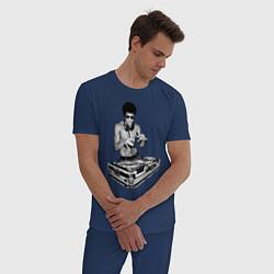 Пижама хлопковая мужская Брюс Ли Dj цвета тёмно-синий — фото 2