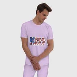 Пижама хлопковая мужская KIss USA цвета лаванда — фото 2