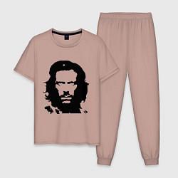 Пижама хлопковая мужская Che House цвета пыльно-розовый — фото 1
